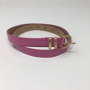 J.Crew Shiny Leather Pink Skinny Belt Size XS